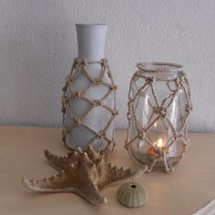 Home-Dzine - Make netted bottles and jars. After completing my coastal decor project I decided to look at other ways to add coastal style to plastic and glass bottles. Adding netting around bottles and jars is a simple way to give any item a touch of coastal style, and it's so easy to do: http://www.home-dzine.co.za/crafts/craft-netted.htm