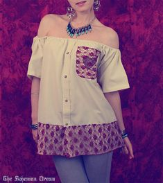 Bohemian blouse tube top off shoulder appliqued burgundy lace Boho Hippie style shirt Upcycled clothing OOAK by TheBohemianDream