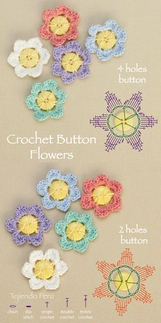 Crochet button flowers diagram (chart o pattern). You can make this flowers with 2 and 4 holes buttons!. Esquema flor en un botón. Patrón gratis.
