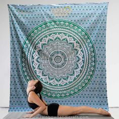 floral round ombre mandala tapestry wall hanging ethnic bohemian yoga Bedspread hippie Curtain art blanket throw India green blue by rainbowhandicraft on Etsy