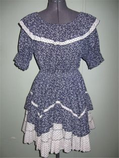 Vintage 60s 70s Square Dance Blue Floral Full Swing 2 Piece Dress Skirt Shirt #Unbranded #Casual