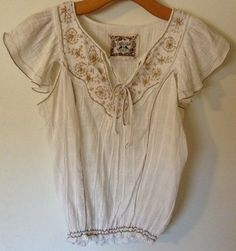 Chelsea And Violet White Pheasant Blouse, Size Small