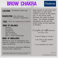 The Brow Chakra is the 6th of seven levels of consciousness in this philosophical model for balancing your energy. (Sources: Eastern Body, Western Mind and Chakras for Beginners.)