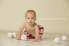 Baseball themed one year portraits - Photographic Designs www.PDgallery.net