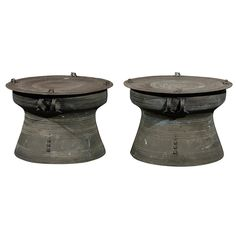 Pair of 20th Century Rain Barrels | From a unique collection of antique and modern side tables at https://www.1stdibs.com/furniture/tables/side-tables/