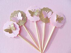 Glitter oro mariposa Cupcake Toppers - mariposa rosa Cupcake Toppers - despedida de soltera Cupcake Toppers - pequeño Cupcake Toppers ******************************************** Estos toppers de cupcake poco dulces son perfectos para bodas, baby shower, despedidas, cumpleaños o cualquier