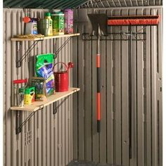 This rack is perfect for storing long handled tools and sports equipment on the back wall of your shed clearing up floor space for more storage. Rubbermaid Shed Accessories, Rubbermaid Storage Shed, Shed Storage, Garage Storage, Storage Ideas, Shed Shelving, Resin Sheds, Plastic Sheds, Shed Floor