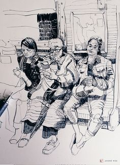 Of people, drawing people, dessin d observation, observational drawing, ske Art And Illustration, Illustration Inspiration, Gravure Illustration, Sketchbook Inspiration, Sketches Of People, Drawing People, Ink Drawings, Drawing Sketches, Drawing Ideas
