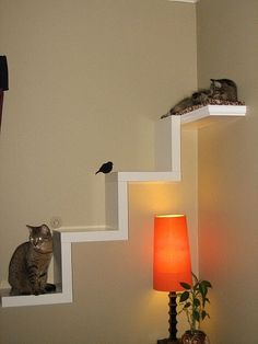 Ikea Lack Shelf Made Into Cat Furniture. One of my kitties is too stressed by dogs and causing trouble.
