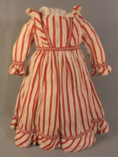 Red and White Cotton Antique Doll Dress