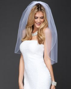 Classic with a beautiful modern twist! bebe Short Merrow Edge Wedding Veil