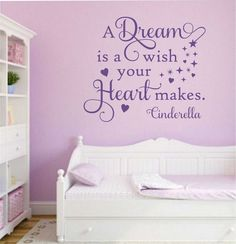 "Self-adhesive Vinyl Wall Lettering *Overall size 22"" w x 19"" h Dream - a dream is a wish your heart makes CHOOSE YOUR COLOR FROM DROP DOWN MENU *For Color reference please see second picture for our c"