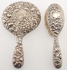 1895 Sterling Silver Mirror and Brush Vanity Set by Gorham--High Relief Repousse