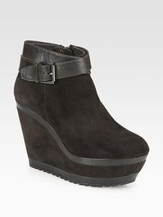 Leather Strap Wedge Boot at ShopStyle