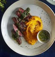 Hanger Steak With Buttery Mashed Carrots : Hanger Steak With Buttery Mashed Car. Hanger Steak With Buttery Mashed Carrots : Hanger Steak With Buttery Mashed Carrots Mashed Potatoes Without Milk, Steak And Mashed Potatoes, Hummus, Steak Sides, Beef Steak Recipes, Hanger Steak, Sweet Carrot, The Best, Recipes