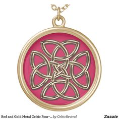 Red and Gold Metal #Celtic Four-SIded Shield Knot Round #Pendant #Necklace  #zazzle