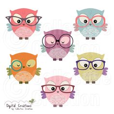 Owls wearing Glasses Digital Clip Art by CollectiveCreation, $4.00