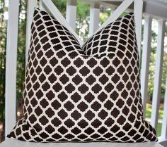 Decorative Designer Brown Pillow Cover -  Brown Geometric Pillow - Brown Moroccan Pillow  - 20 x 20 Throw Pillow. $42.00, via Etsy.