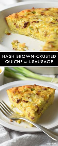 Hash Brown-Crusted Quiche with Sausage - take quiche up a notch by adding a crispy hash brown crust and flavorful sausage. Super easy and perfect for breakfast, brunch, or even dinner! Sausage Quiche, Quiche With Hashbrown Crust, Breakfast Quiche, Breakfast Meals, Sausage Breakfast, What's For Breakfast, Breakfast Casserole, Paleo Breakfast, Crepes