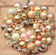 Ornament wreath Rose gold Christmas wreath pink by thepaisleymoon Rose Gold Christmas Decorations, Holiday Decor, Christmas Balls, Christmas Wreaths, Shiny Brite Ornaments, Gold Wreath, Rose Gold Pink, Vintage Ornaments, Ornament Wreath