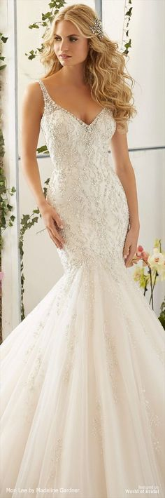 Intricate Crystal Beaded Embroidery on the Tulle, Mermaid Gown