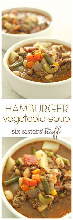 Hamburger Vegetable Soup from SixSistersStuff