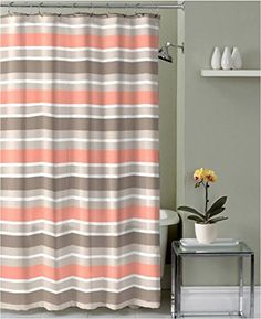 Brown Taupe Coral White Fabric Shower Curtain Striped Design with hooks ** You can find more details by visiting the image link. Note:It is Affiliate Link to Amazon.