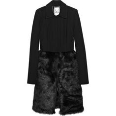 Tibi Black Mademoiselle Wool Faux Fur Coat as seen on Olivia Palermo
