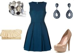 """""""Navy and Neutral Evening"""" by achristie on Polyvore"""