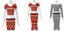 New Womens Sexy Summer Tribal Crop Top Tube Skirt Midi Mini Two Piece Dress only £14.99