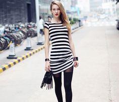 $12.99  Black And White Horizontal Stripe Dress#group buying #whatabeautifullife.com