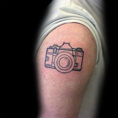 Outline Minimalist Camera Upper Arm Tattoos For Gentlemen