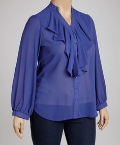 Another great find on #zulily! Royal Blue Ruffle Button-Up Top - Plus by C.O.C. #zulilyfinds