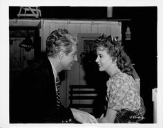 Jean Gabin and Ida Lupino on the set of Moontide, directed by Archie Mayo, 1942.