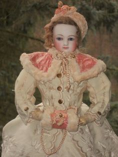 Beautiful Early French Bisque Poupee in Gorgeous Winter-Costume (item #1321032, detailed views)