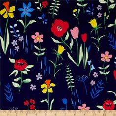 Designed by Sarah Jane for Michael Miller Fabrics, this cotton print fabric is perfect for quilting and craft projects. Colors include shades of blue, green, yellow, orange, pink and black.