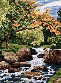 needlepoint houses and landscape | This is a delightful, colourful tapestry kit from Twilley's of ...