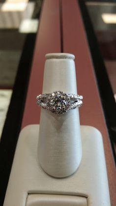 Custom made vintage white gold halo engagement ring #custom #engagementring #engagement #ring