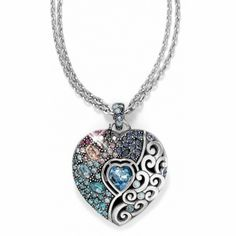 Brighton Ecstatic Heart Convertible Necklace in a kaleidoscope of colors from icy blue to royal purple.