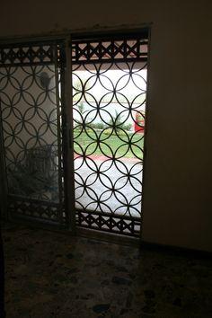Burglar bars, private home, Monrovia, Liberia.
