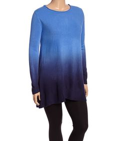 Look what I found on #zulily! Aqua & Teal Dip-Dye Sidetail Top - Plus #zulilyfinds