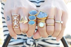 Lots of rings is my favorite thing. Gold and stones.
