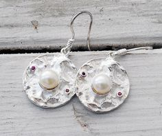 Pearl Earrings  Pearls and Rubies Sterling Silver by SunSanJewelry,