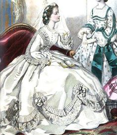 1862.  Journal des demoiselles.  Meringue of scallops and graduated pleat, lace ruffle, and floral rosettes - A wedding dress from the looks of her veil.