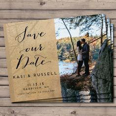Customized Wedding Save The Date Card with by CaraCoPrintables, photo card, rustic country chic for fall or autumn wedding or fall or autumn engagement photo