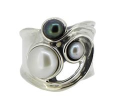Hagit Gorali statement Israeli  hand crafted organic sterling silver ring with three freshwater pearls peacock, dove grey and white.   Now available Online @webbsjewellers.com