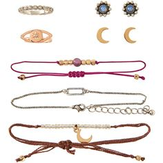 Aeropostale Cosmic Rings, Bracelets and Stud Earrings 7-Pack ($6) ❤ liked on Polyvore featuring jewelry, earrings, multi, aéropostale, cosmic jewelry, nailhead bracelet, bracelet jewelry and bracelet earrings