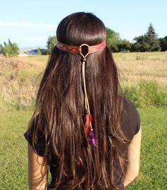 Red Celtic Wave Hippie Boho Jacquard Ribbon Leather by PlumaCrafts, $17.99
