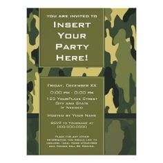 Large Party Invitation: Green Military Camouflage