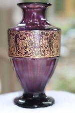 Antique Bohemian Gold Encrusted AMETHYST glass vase signed MOSER, Karlsbad